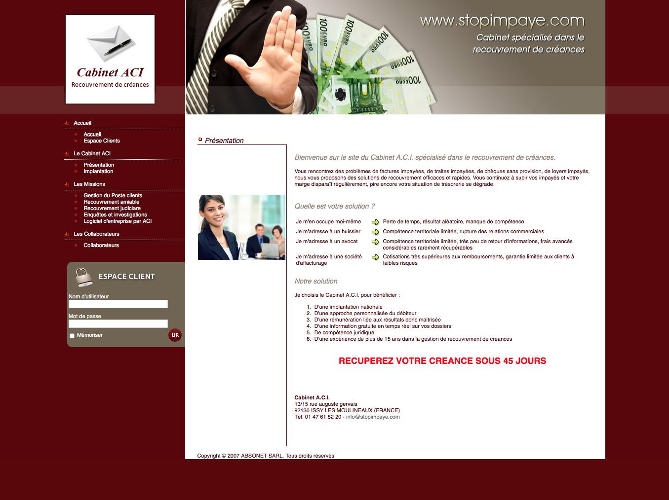 Cabinet A.C.I. spécialisé dans le recouvrement de créances