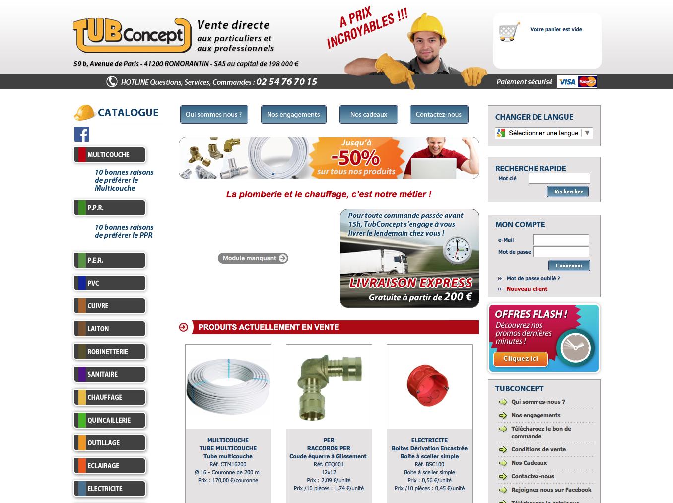 vente de materiels pour plomberie et chauffage